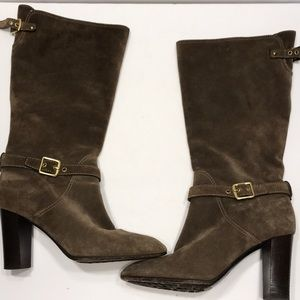 """Coach Suede Heeled Boots """"Robynn"""" Brown SZ 9.5"""